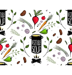 Seamless Pattern Cooking Vegetable Soup vector image