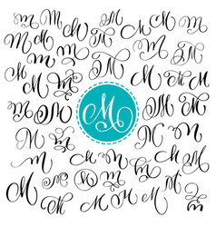 Set of hand drawn calligraphy letter m vector