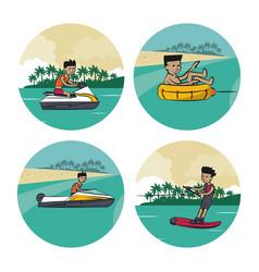 Set of water sports cartoons vector