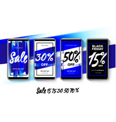 set sale web banners for social media mobile vector image