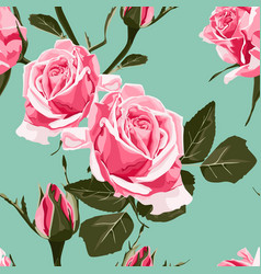 shabby chic pink roses vintage pattern vector image