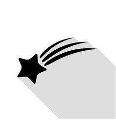 shooting star sign black icon with flat style vector image
