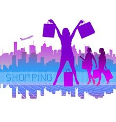shopping city vector image