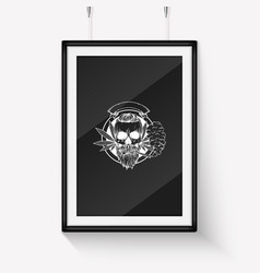 Sketch skull with beard and mustaches vector