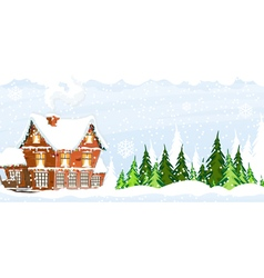 Snow covered Farmhouse vector image