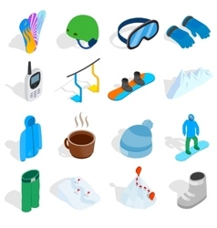 Snowboard icons set isometric 3d style vector image