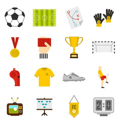 Soccer football icons set in flat style vector
