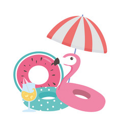 summer time vacation tourism flamingo bird vector image
