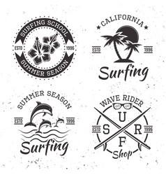 surfing set four black vintage emblems vector image