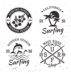 surfing set of four black vintage emblems vector image