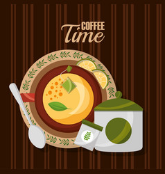 Top view teacup lemon spoon and sugar on wooden vector