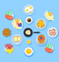 traditional breakfast food set vector image