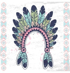 Tribal native American fetaher headband vector