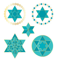 Turquoise blue and gold jewish stars vector