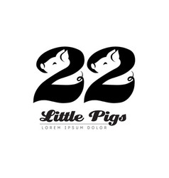 Twenty two little pigs - logo logotype with vector