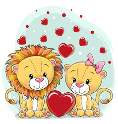 two lions with hearts on a blue background vector image