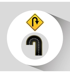 U-turn road sign concept graphic vector