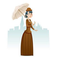 Victorian lady businesswoman wealthy cartoon vector