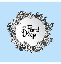 Vintage floral round frame vector