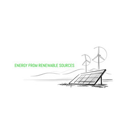 wind turbines and solar panels sketch vector image