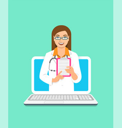 woman doctor online consultation concept vector image