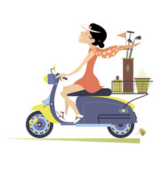 Woman rides the scooter and goes to play golf vector