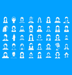 woman silhouette icon blue set vector image