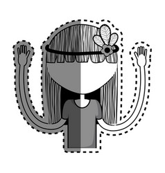 woman with flower in the hair icon vector image