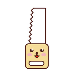 Woodworking saw kawaii character vector
