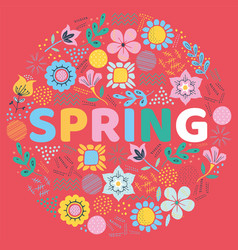 word spring surrounded leaf and flowers vector image