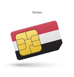 Yemen mobile phone sim card with flag vector