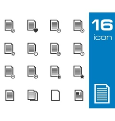 black document icons set on white background vector image vector image