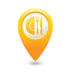 restaurant icon map pointer yellow vector image vector image