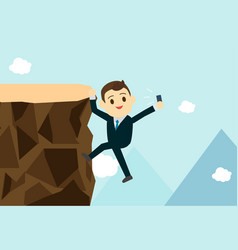 young business man climb the hill to take vector image vector image