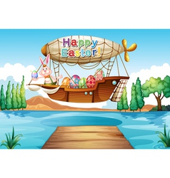 A happy easter greeting above the river vector image vector image