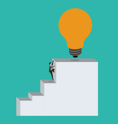 Color background with businessman climbing stair vector