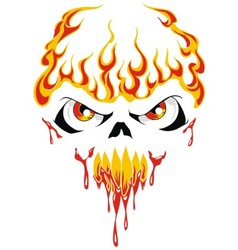 fire face skull vector image vector image