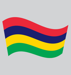 flag of mauritius waving on gray background vector image vector image