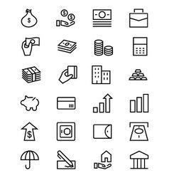 Money Line Icons 1 vector image