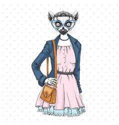 Retro hipster fashion animal lemur woman model vector