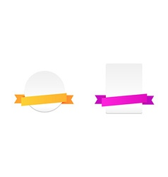 Set of labels with colour ribbons vector image