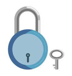 simple metal lock with blue corpus and small key vector image