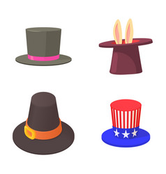 top hat icon set cartoon style vector image