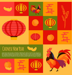 chinese new year icons and buttons set vector image vector image