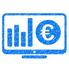 euro market monitoring grunge icon vector image