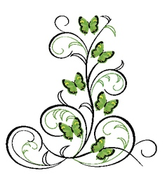 Flourishes in black with butterflies vector image