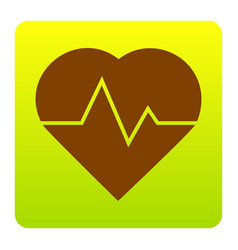 heartbeat sign brown icon at vector image