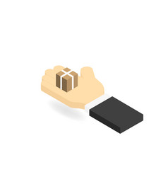 mans hand and a box the concept of the delivery vector image