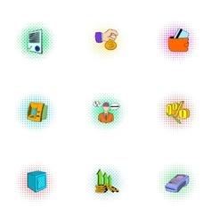 Money icons set pop-art style vector image vector image