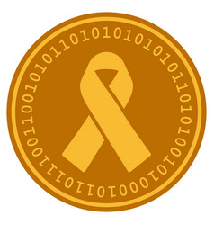 Mourning ribbon digital coin vector